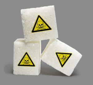 Kostki cukru z oznakowaniem toksyczności
